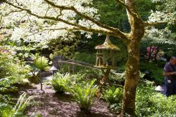 Wooden bridge and Pagoda at the Butchart Gardens Japanese Garden area.jpg